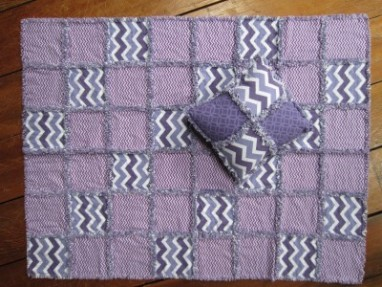 #17 - Purple Rag Quilt & Pillow
