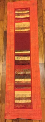 """SOLD! #2:Pieced and quilted table runner in fall colors. 13"""" x 48"""""""
