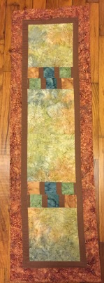 """#1:Pieced and quilted table runner. 13"""" x 44"""""""